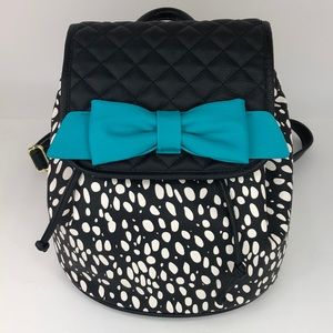 Betsey Johnson Polka Dot Blue Bow Mini Backpack